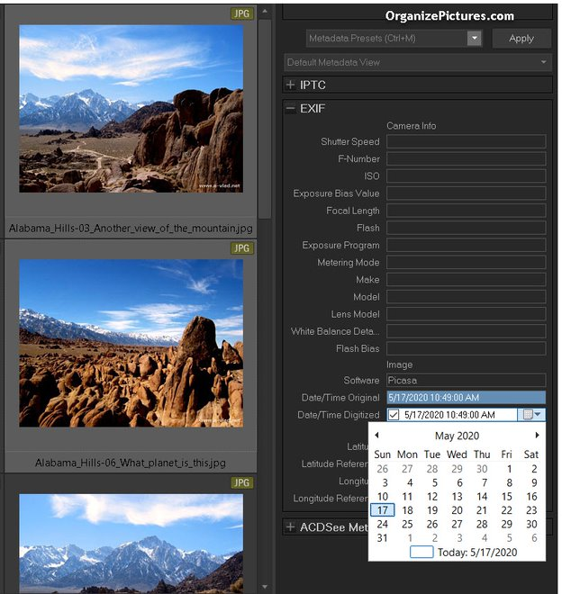 Change EXIF Date Time with ACDSee Photo Studio